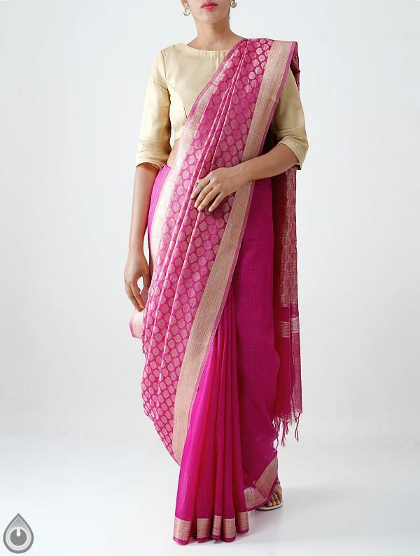 Online Shopping for Pink Soft Linen Saree With Tassels with Weaving from Chattisgarh at Unnatisilks.com India