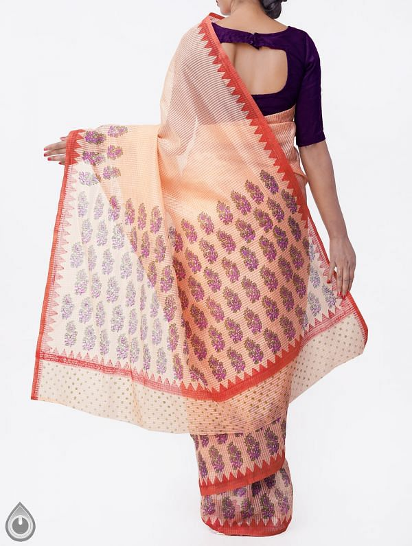 Orange Banarasi Organza Checks Saree -UNM28228