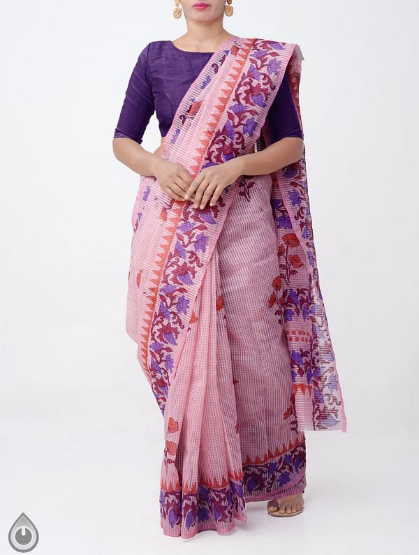 Online Shopping for Pink Banarasi Organza Saree with Hand Block Prints from Uttar Pradesh at Unnatisilks.com India