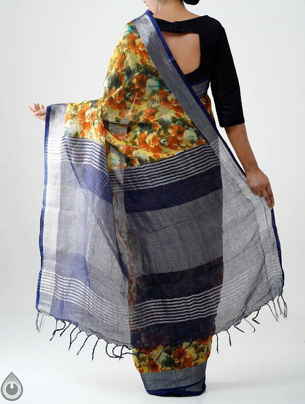 Yellow Contemporary Digital Printed Pure Linen Saree with Tassels-UNM28241