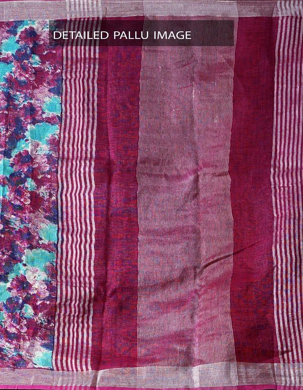 Purple Contemporary Digital Printed Pure Linen Saree with Tassels-UNM28246