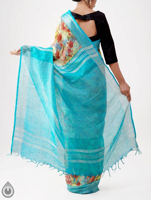 Yellow Contemporary Digital Printed Pure Linen Saree with Tassels-UNM28247