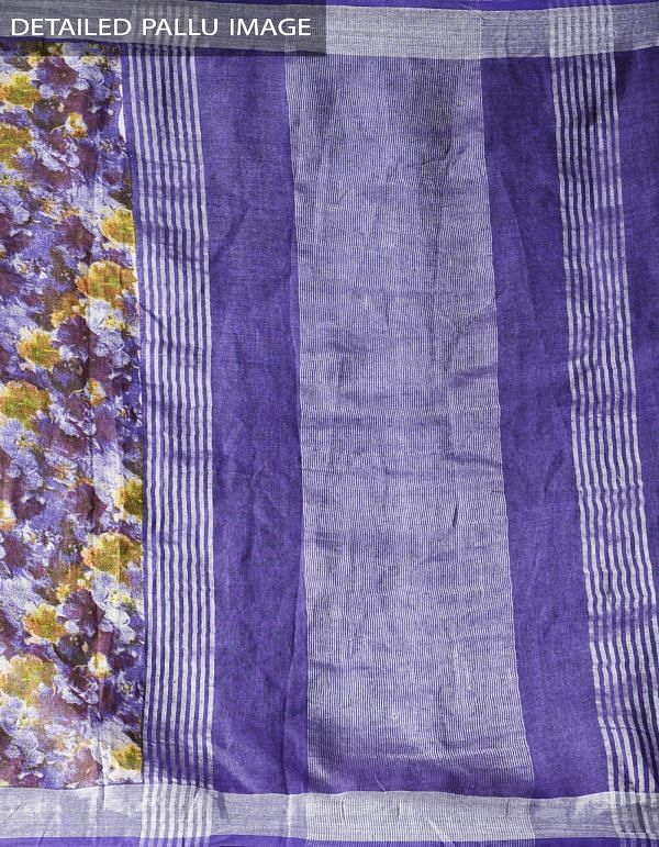 Online Shopping for Violet Contemporary Digital Printed Pure Linen Saree with Tassels with Digital prints from Chattisgarh at Unnatisilks.com India