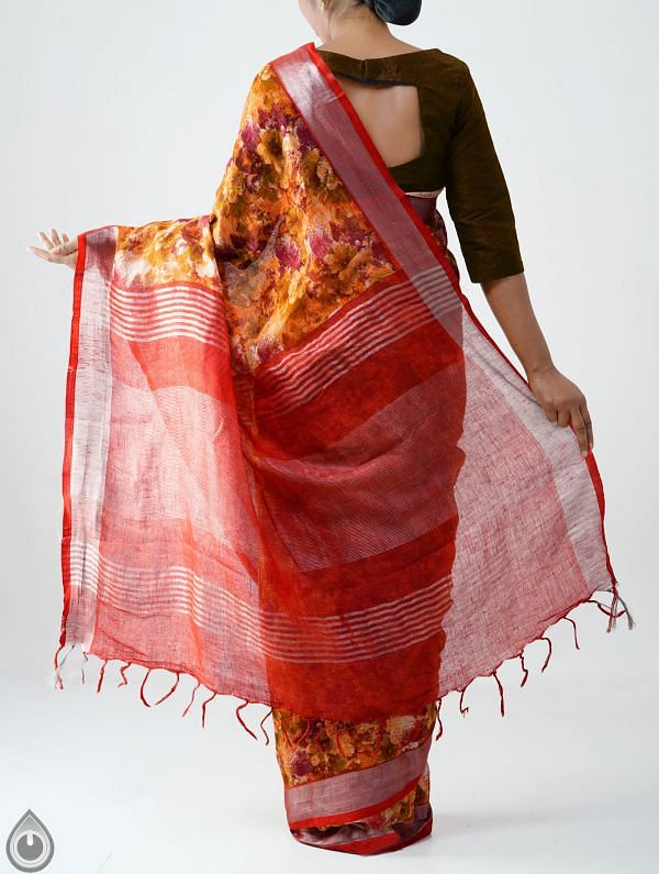 Orange Contemporary  Digital Printed Pure Linen Saree with Tassels-UNM28250