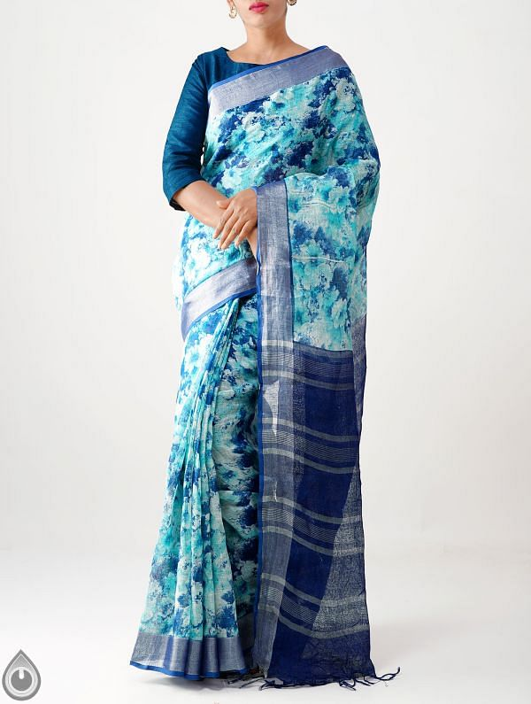 Blue Contemporary Digital Printed Pure Linen Saree with Tassels-UNM28251