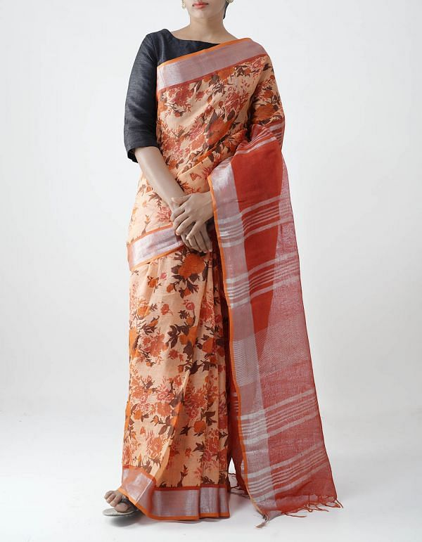 Orange Floral Digital Printed Pure Linen Saree with Tassels-UNM28252