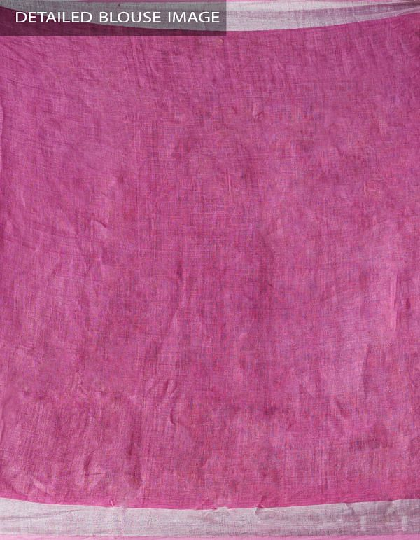 Pink Floral Digital Printed Pure Linen Saree with Tassels-UNM28253