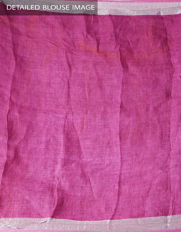 Pink Floral Digital Printed Pure Linen Saree with Tassels-UNM28259