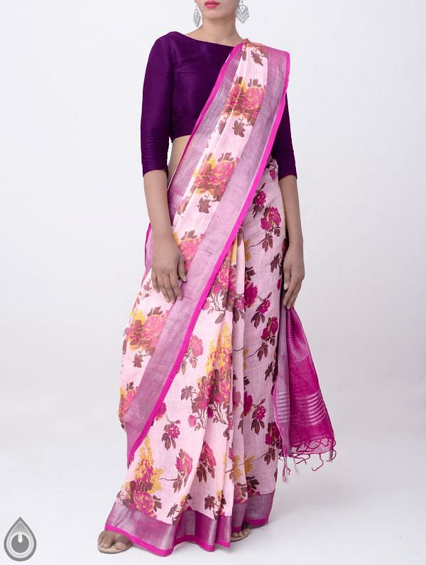Pink Floral Digital Printed Pure Linen Saree with Tassels-UNMP28262