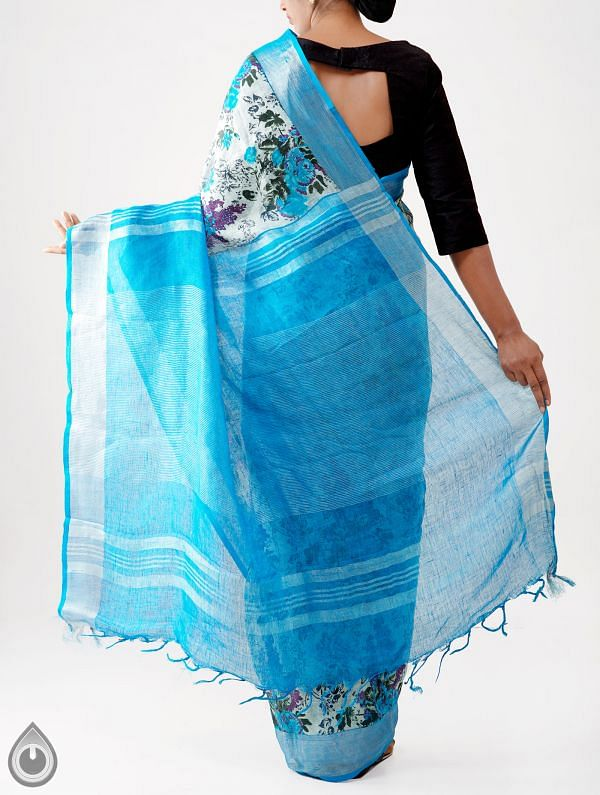 Blue Floral Digital Printed Pure Linen Saree with Tassels-UNM28264