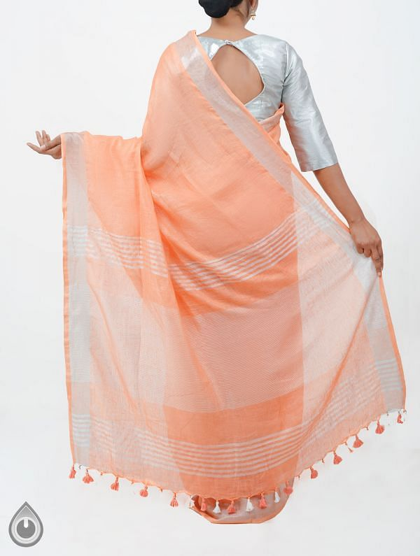 Orange Pure Handloom Linen Plain Saree With Tassels-UNM28268