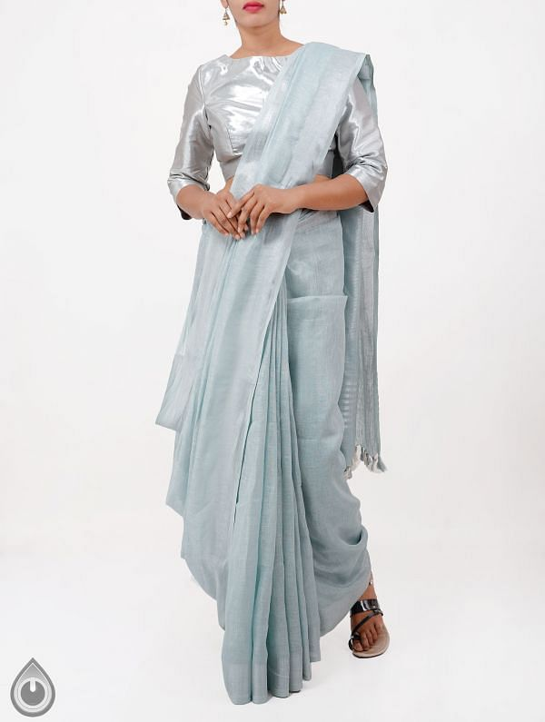 Online Shopping for Pastel Blue Pure Handloom Linen Plain Saree With Tassels with Weaving from Chattisgarh at Unnatisilks.com India