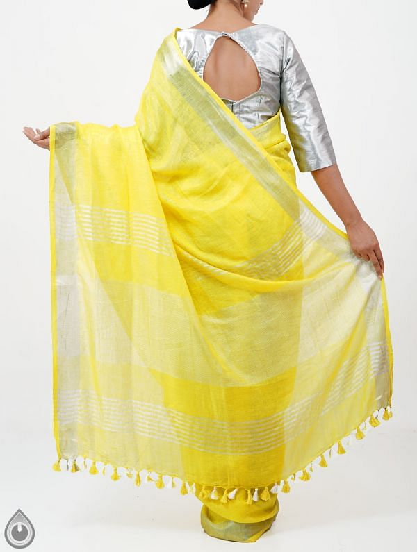 Yellow Pure Handloom Linen Plain Saree With Tassels-UNMP28273