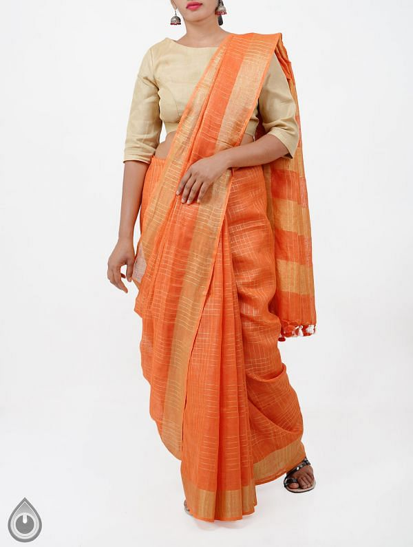 Online Shopping for Orange Pure Handloom Linen Checks Saree With Tassels with Weaving from Chattisgarh at Unnatisilks.com India
