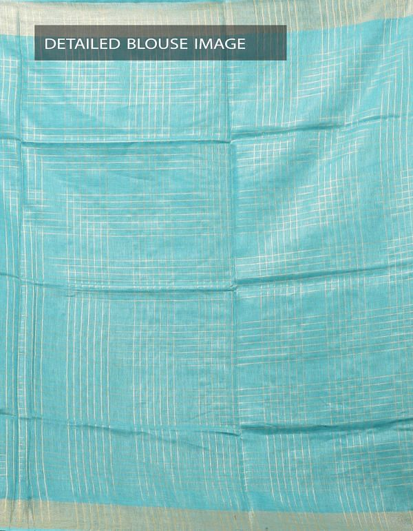 Green Pure Handloom Linen Checks Saree With Tassels-UNM28285
