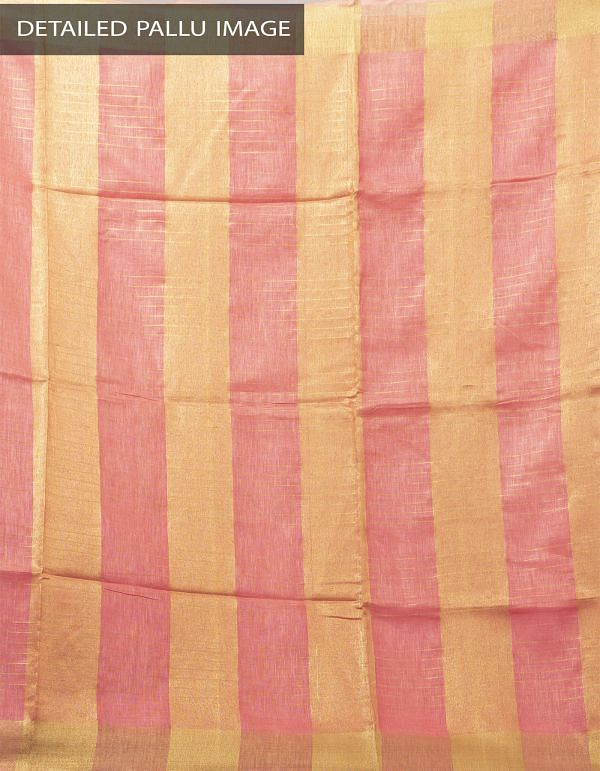 Online Shopping for Pink Pure Handloom Linen Checks Saree With Tassels with Weaving from Chattisgarh at Unnatisilks.com India