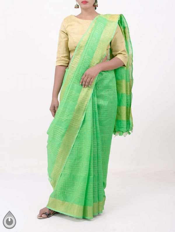 Online Shopping for Green Pure Handloom Linen Checks Saree With Tassels with Weaving from Chattisgarh at Unnatisilks.com India