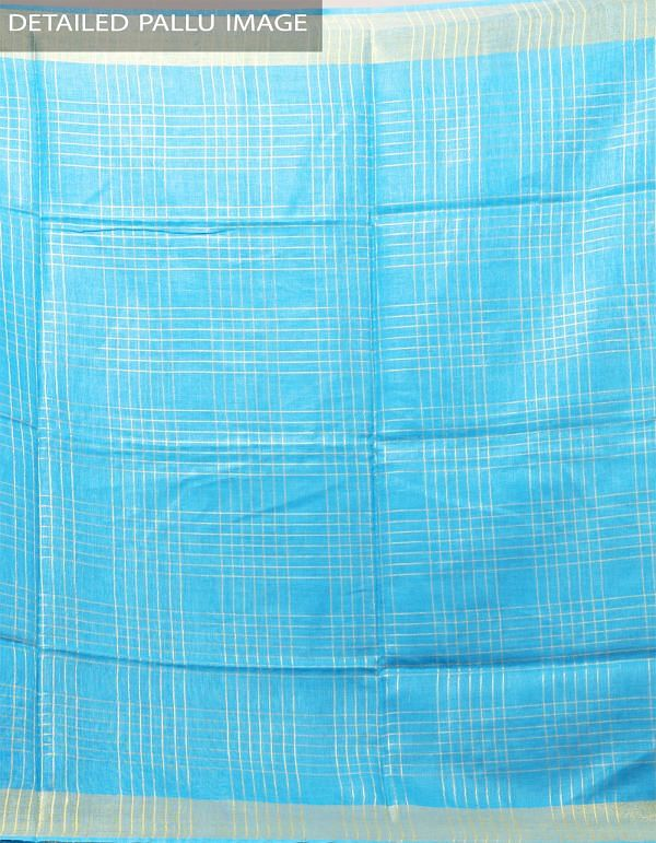 Online Shopping for Blue Pure Handloom Linen Checks Saree With Tassels with Weaving from Chattisgarh at Unnatisilks.com India