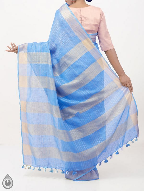 Blue Pure Handloom Linen Checks Saree With Tassels-UNM28293
