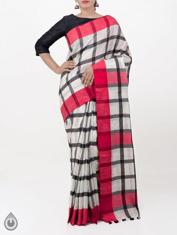 Off White Pure Handloom Linen Checks Saree With Tassels-UNMP28295