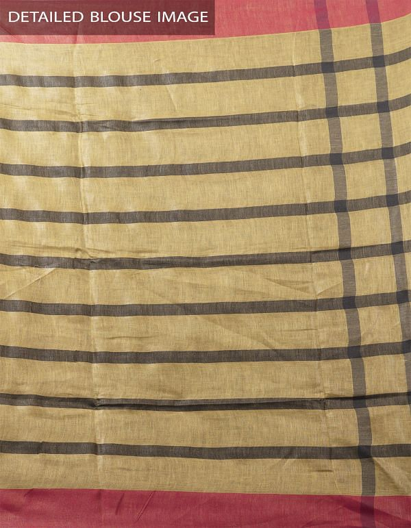 Brown Pure Handloom Linen Checks Saree With Tassels-UNMP28298