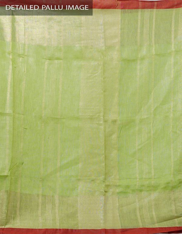Online Shopping for Green Pure Handloom Linen Plain Saree With Tassels with Weaving from Chattisgarh at Unnatisilks.com India