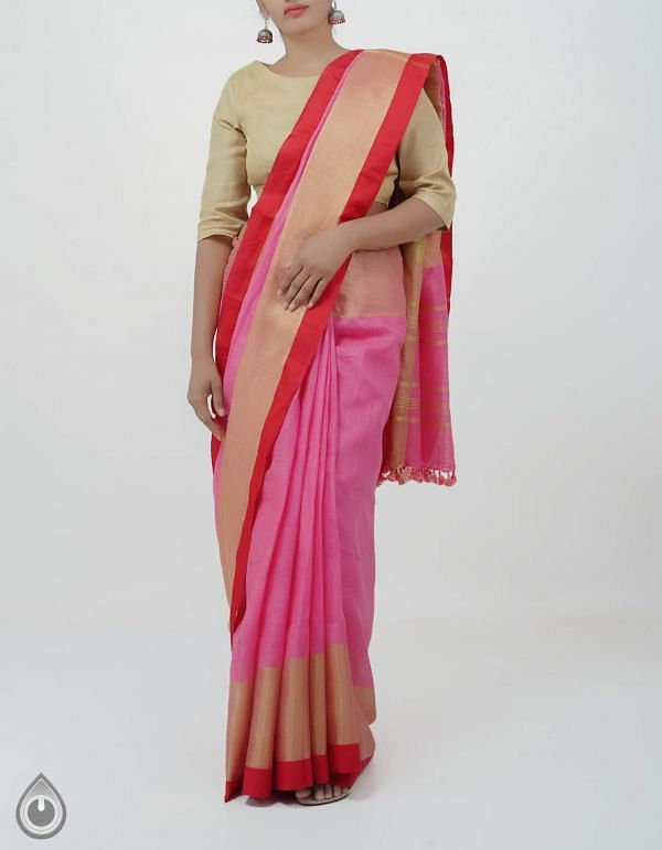 Online Shopping for Pink Pure Handloom Linen Plain Saree With Tassels with Weaving from Chattisgarh at Unnatisilks.com India
