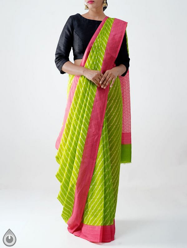 Green Ikat Printed Pochampally Soft Silk Saree-UNMP28308