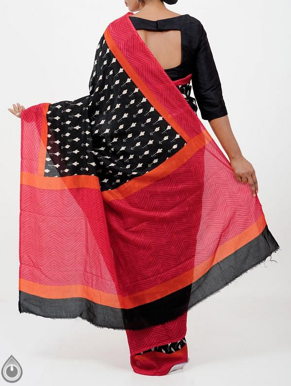 Black Ikat Printed Pochampally Soft Silk Saree-UNM28318