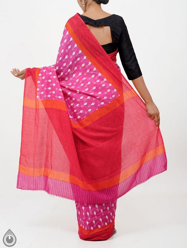 Pink Ikat Printed Pochampally Soft Silk Saree-UNMP28320