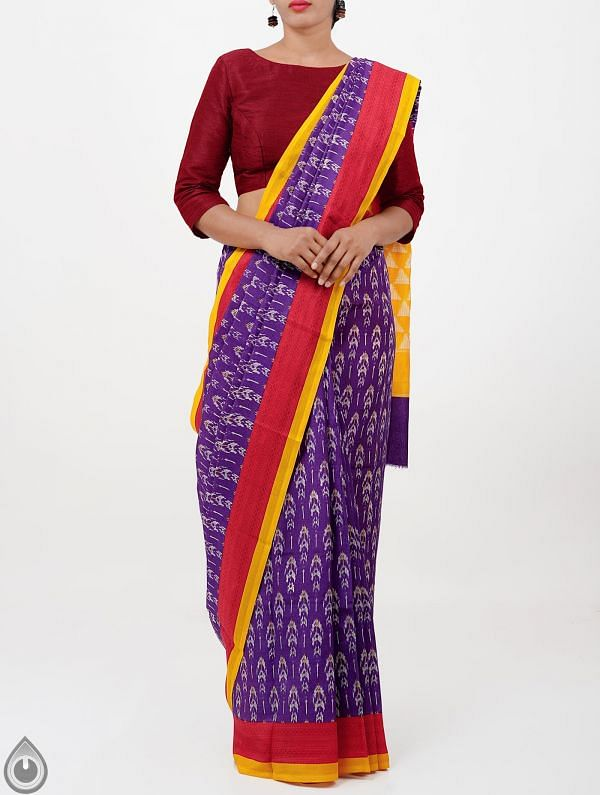 Violet Ikat Printed Pochampally Soft Silk Saree-UNMP28322