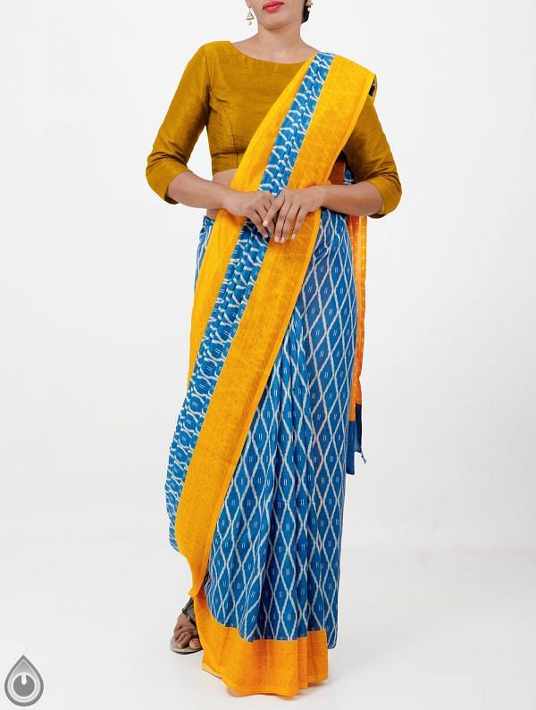 Online Shopping for Blue Ikat Printed Pochampally Soft Silk Saree with Ikat Prints from Andhra Pradesh at Unnatisilks.com India