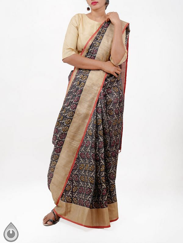Black Pure Handloom Tussar Ghicha Silk Saree With Tassels-UNMP28339