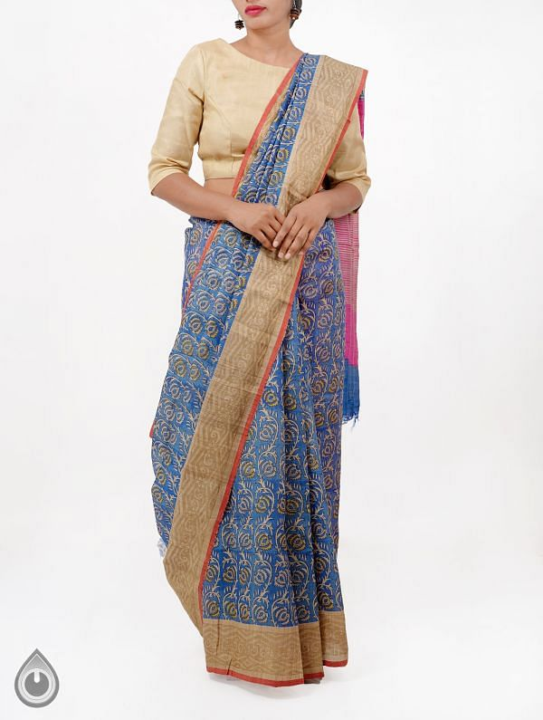 Online Shopping for Blue Pure Handloom Tussar Ghicha Silk Saree With Tassels with Hand Block Prints from Chattisgarh at Unnatisilks.com India