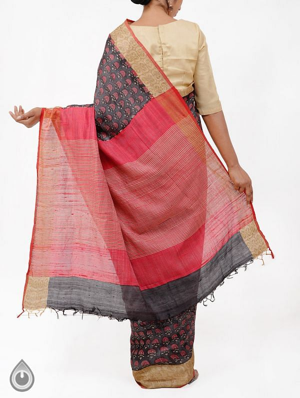 Grey Pure Handloom Tussar Ghicha Silk Saree With Tassels-UNM28344