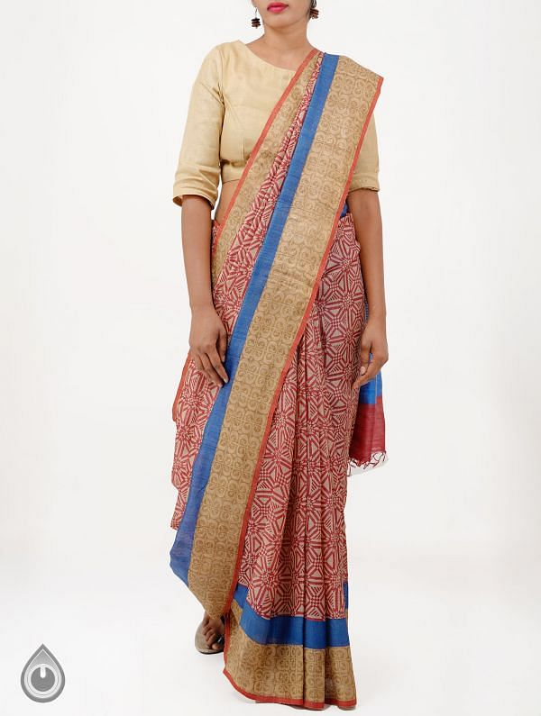 Online Shopping for Beige Pure Handloom Tussar Ghicha Silk Saree With Tassels with  Hand Block Prints from Chattisgarh at Unnatisilks.com India