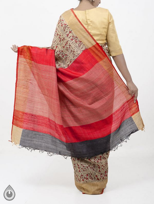 Beige Pure Handloom Tussar Ghicha Silk Saree With Tassels-UNM28351