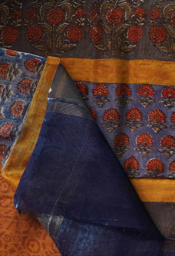 Online Shopping for Blue Pure Chanderi Sico Saree  with Hand Block Prints from Madhya Pradesh at Unnatisilks.com India