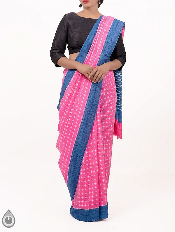 Online Shopping for Pink Pochampally Soft Silk Saree with Ikat Prints from Andhra Pradesh at Unnatisilks.comIndia