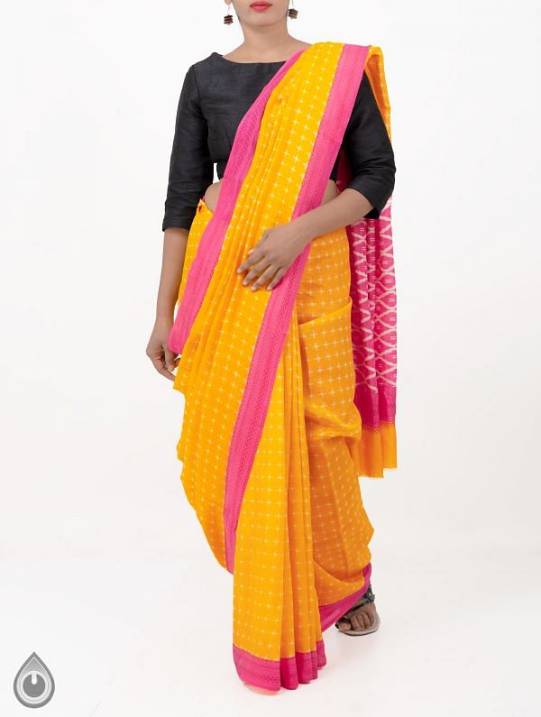 Online Shopping for Yellow Pochampally Soft Silk Saree with Ikat Prints from Andhra Pradesh at Unnatisilks.comIndia