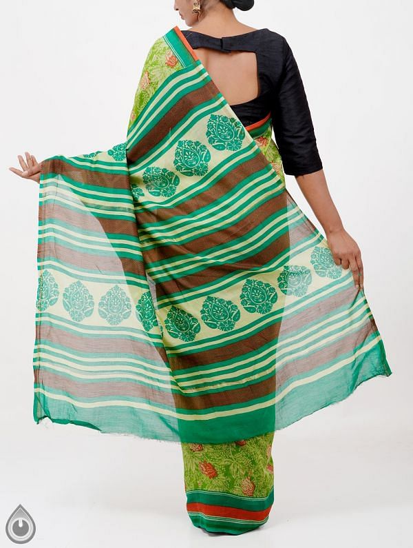 Green Pure Chanderi Sico Saree -UNMP28375
