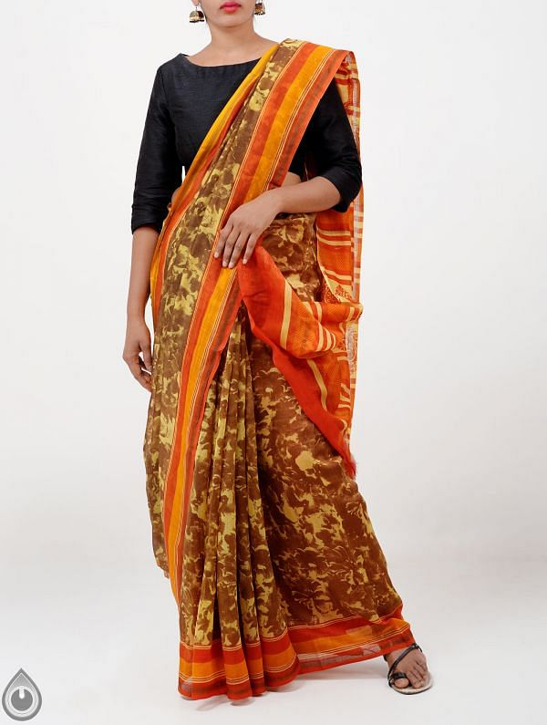 Online Shopping for Yellow-Brown Pure Contemporary Chanderi Sico Saree with Prints from Madhya Pradesh at Unnatisilks.com India