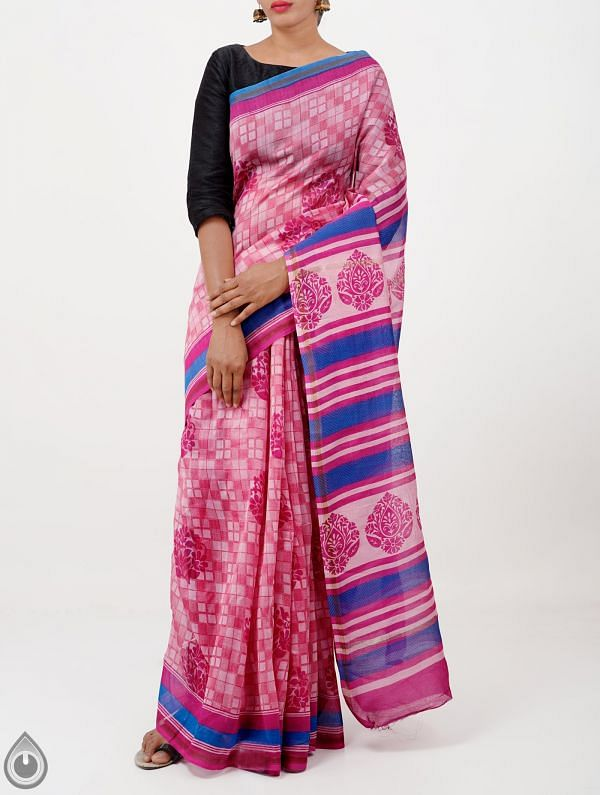 Online Shopping for Pink Pure Chanderi Sico Saree with Prints from Madhya Pradesh at Unnatisilks.com India
