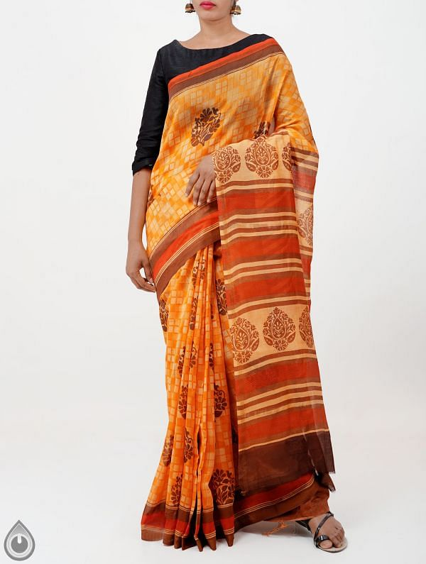 Orange Pure Chanderi Sico Saree -UNMP28385