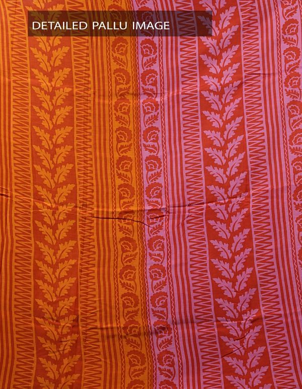 Online Shopping for Orange Printed Bengal Soft Silk Saree with Prints from West Bengal at Unnatisilks.com India