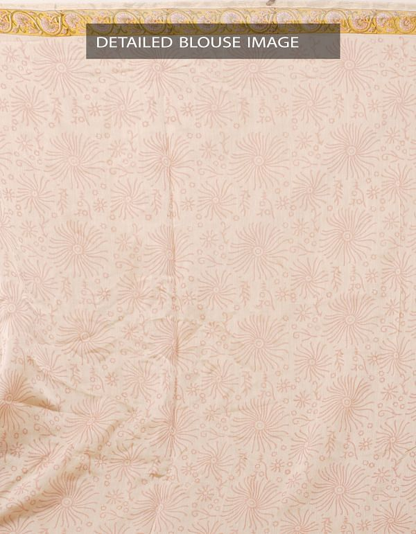 Online Shopping for Beige Hand Block Printed Pure Chanderi Sico Saree with Hand Block Prints from Madhya Pradesh at Unnatisilks.com India