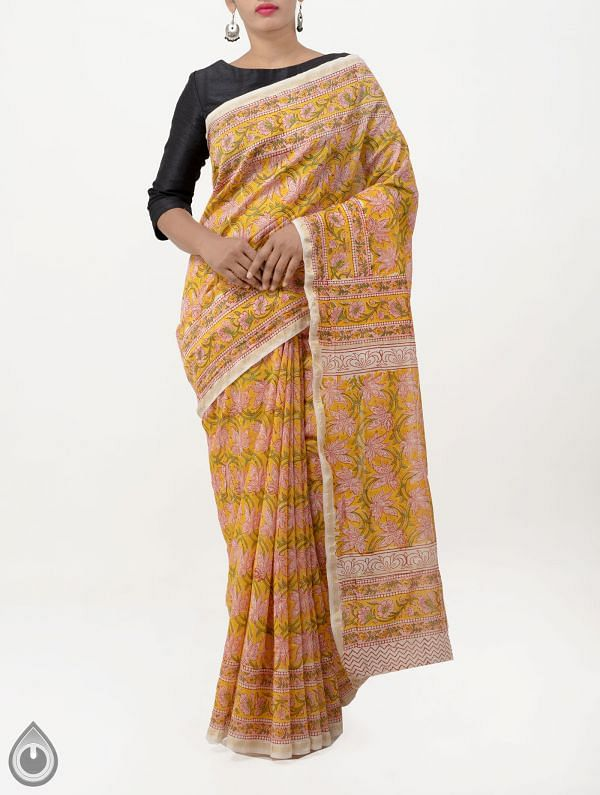 Online Shopping for Yellow Hand Block Printed Pure Chanderi Sico Saree with Hand Block Prints from Madhya Pradesh at Unnatisilks.com India