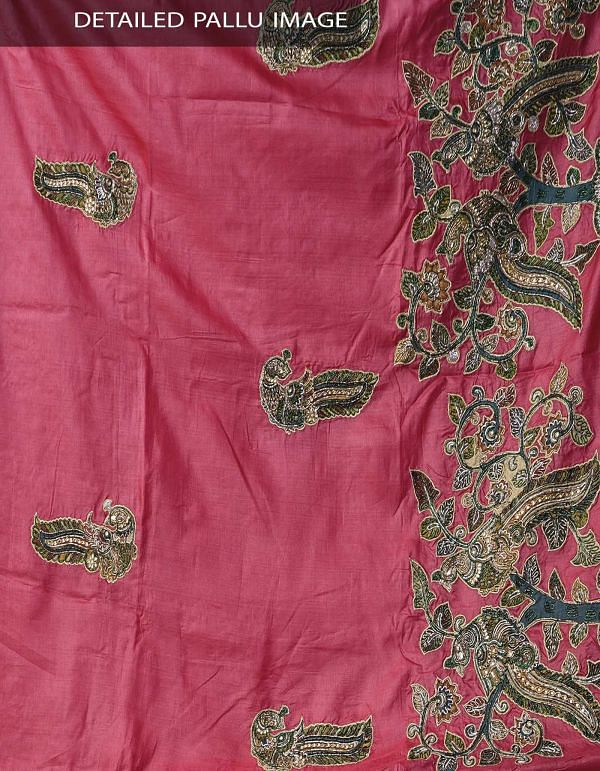 Red Royal PureTussar Silk Hand-Woven and Hand Embroidered Saree