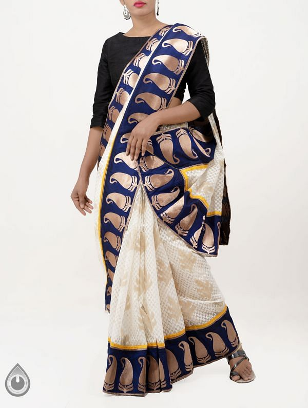 Off White Pure Banarasi Organza Saree With Patch Border -UNM28401
