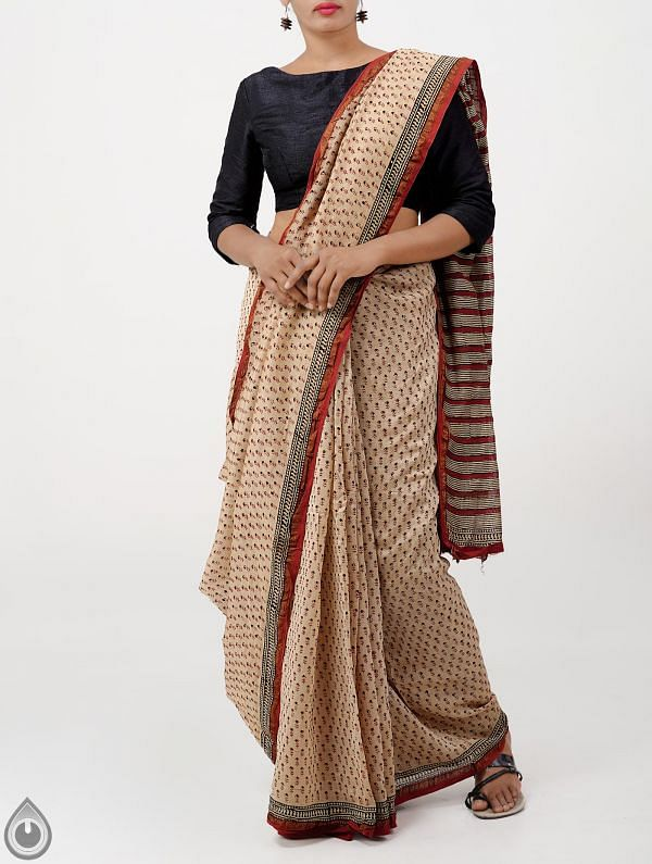 Brown Bagru Printed Pure Chanderi Sico Saree -UNM28407
